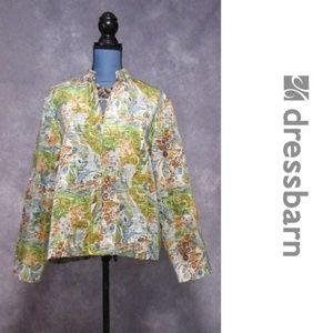 Dress Barn Zip Front Blazer Jacket Green Gold Sz L